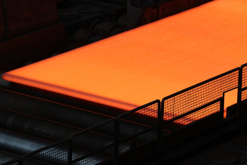 Hot steel plate in the bar cooling facility